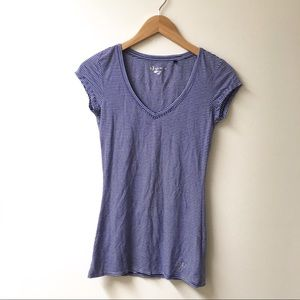 Guess striped blue and white fitted tee
